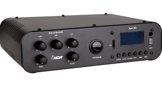 Receiver Amplificador Sa10 Fm Usb Bt Som Ambiente Nca Full