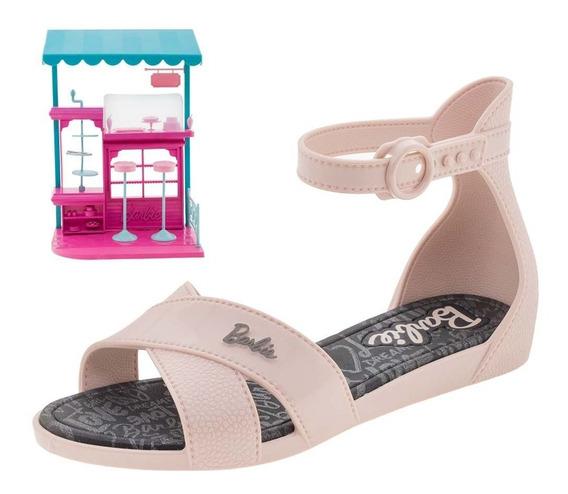 Sandália Infantil Feminina Barbie Confeitaria Rosa Grendene