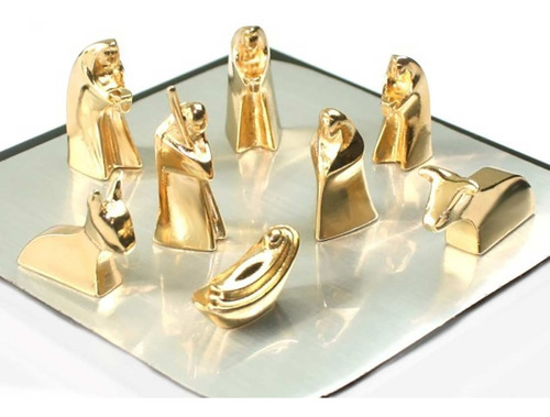 ¡ Pesebre De Lujo Gold Joya Navidad 8 Figuras Baño En Oro !!