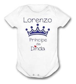 Body Infantil Menino Coroa Principe Da Dinda Com Nome