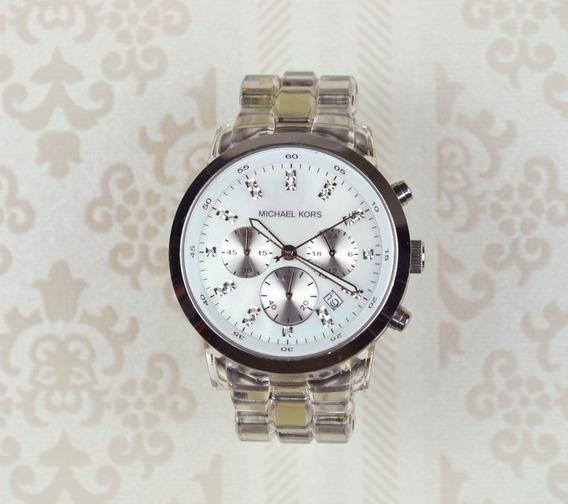 Relógio Michael Kors Mk 5235 Prateado Pulseira Transparente
