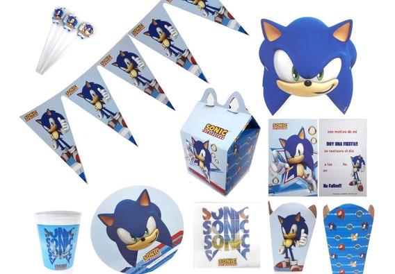 Combo Cotillon Sonic Para Cumpleaños 20 Chicos Fiesta Nene