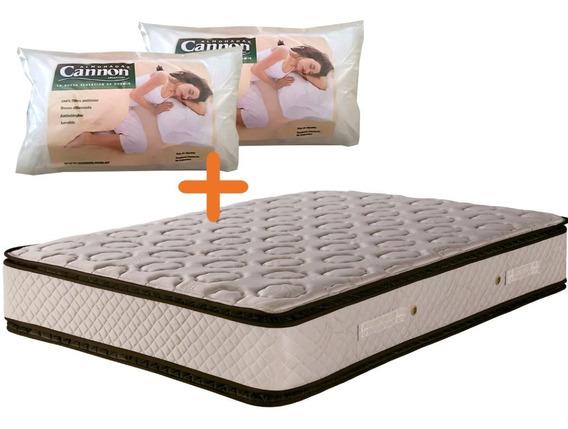 Colchon Cannon Sublime Con Pillow 140 X 190 + 2 Almohadas!