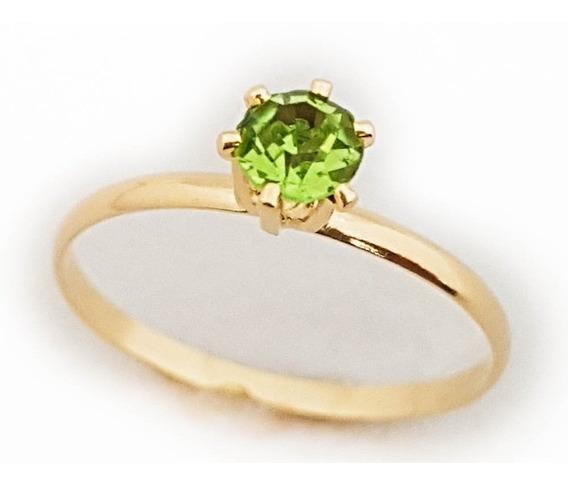 Anel Feminino Solitário Cristal Verde Folheado Ouro 18k. A90