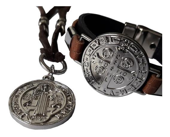 Pulseira De Couro + Cordão Da Medalha De São Bento Proteção