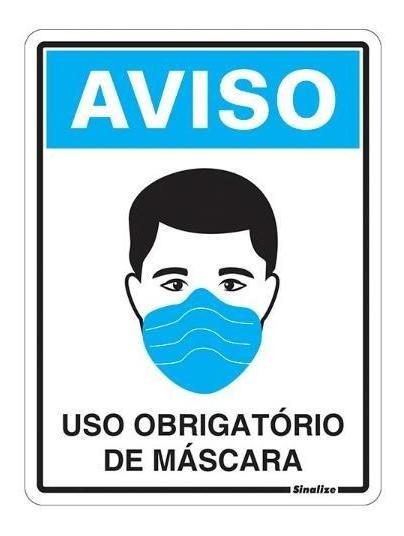 Placa Sinal Pol 15x20cm uso Obrigatório De Máscarasinalize