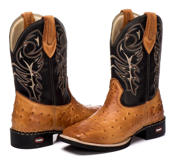 Bota Country Texana Masculina Couro Legítimo Avestruz