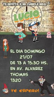Tarjeta De Invitación De Cumpleaños De Gravity Falls En