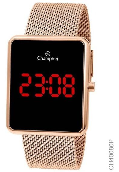 Relógio Champion Feminino Digital Quadrado Rosé Ch40080p