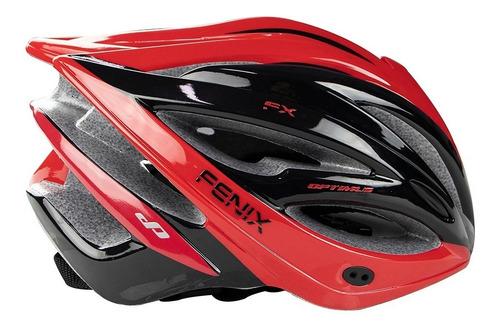 Casco Ciclismo Optimus Fenix - Negro Rojo Talle M Y L