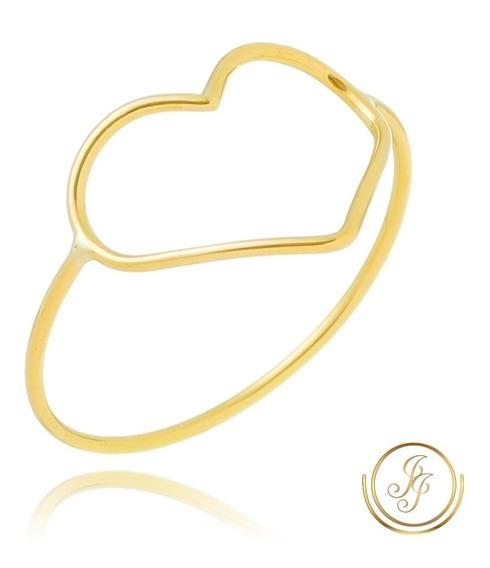 Promoção Anel Coração Vazado Ouro 18kl 750kl