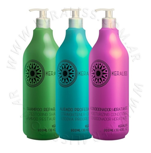 Imagen 1 de 5 de Keraliss Kit Alisado Sin Formol Anmat Shampoo Acondicionador
