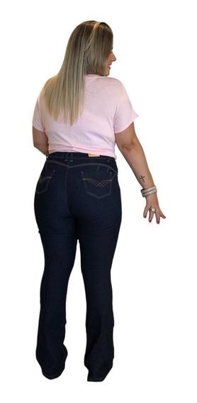 Calça Jeans Feminina Plus Size Flare Boot Cut Com Elastano