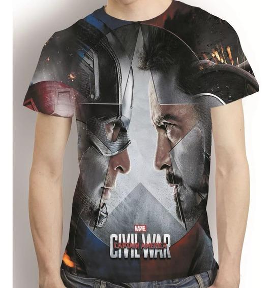 Camisa Guerra Civil Camiseta Capitão America - Estampa Total