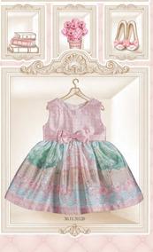 Vestido Petit Cherie Baby Em Shantung Floral Saia Bichinhos