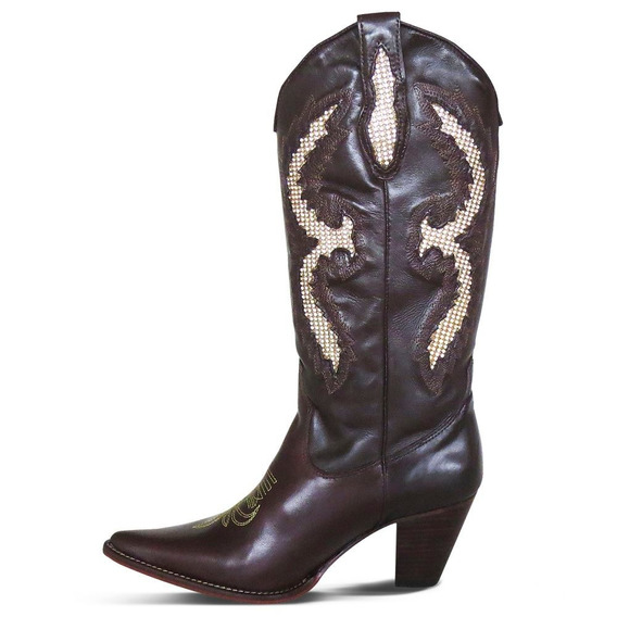 Bota Country Texana Couro Mustang Feminina Silverado Café