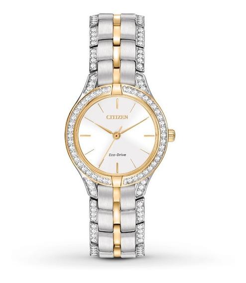 Reloj Dama Citizen Fe2064-52a Acero Con Cristales Ecodrive