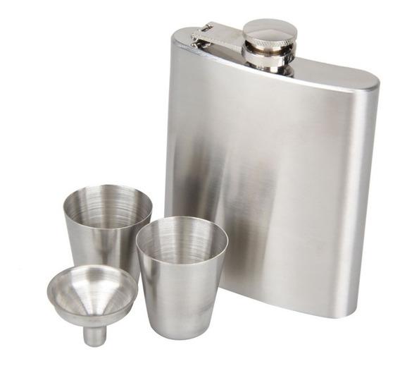 Kit Cantil Porta Bebida 210 Ml C/ Funil 2 Copos Whisky Vodka