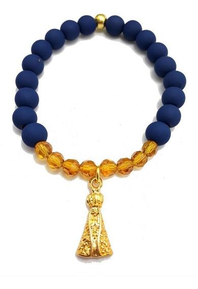Pulseira Azul E Dourada Nossa Senhora Aparecida Oxum