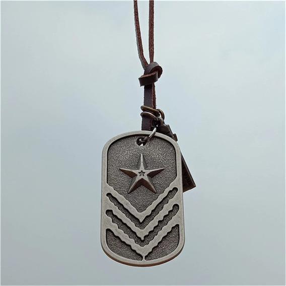 Colar Militar - Couro Legitimo Com Placa Dog Tag E Pingentes
