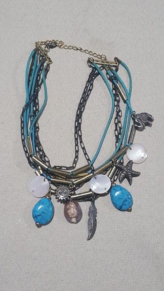 Colar Feminino Azul Pedra Pingente