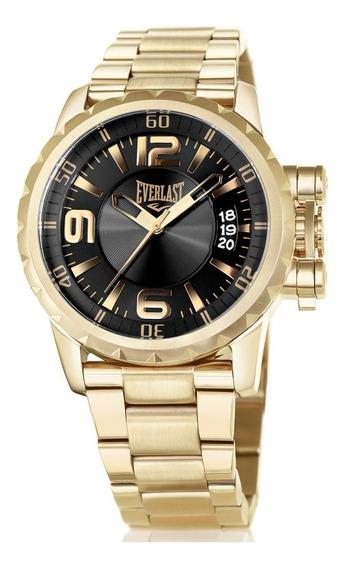 Relógio Everlast Masculino Dourado Analógico - E497