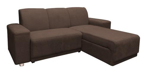Imagen 1 de 4 de Sillon Juego De Living Comedor Sofa Chaise Long Marrón Plaza