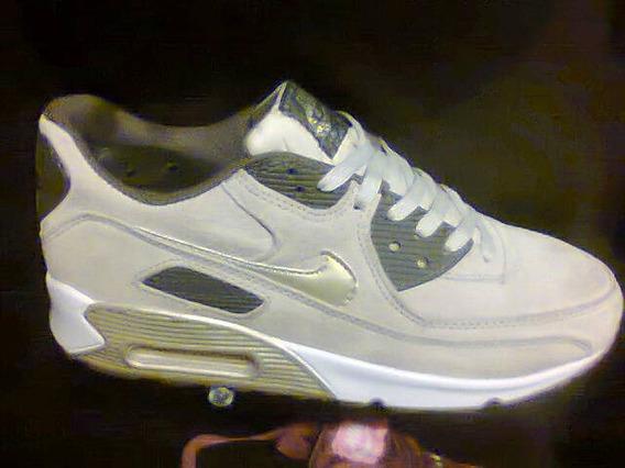 Tenis Nike Air Max 90 Bege E Dourado Nº40 Original Na Caixa!