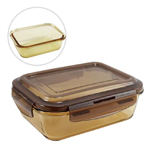 Imagem 1 de 6 de Pote De Vidro Hermético (g) Para Alimentos Marmita Marrom