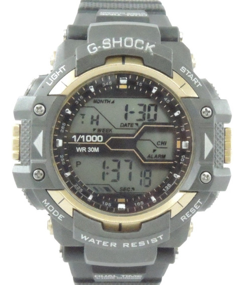 Relógio Masculino 8338g Digital Dourado Cronometro Calendário Alarme E Luz Esporte Fitness Shock
