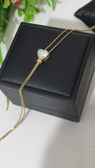 Colar Gravatinha Ponto De Luz Banhado A Ouro Com Zircônia