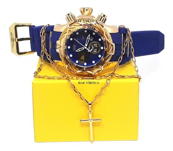 Relógio + Corrente Banhada 18k + Caixa + Brinde + Fréte Grát