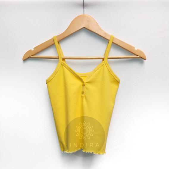 Top Crop Musculosa Mujer Botones Básico Morley Lisos