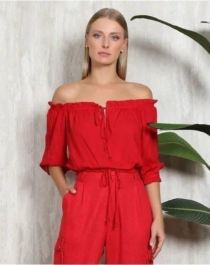 Blusa Cropped Ombro A Ombro Vermelho
