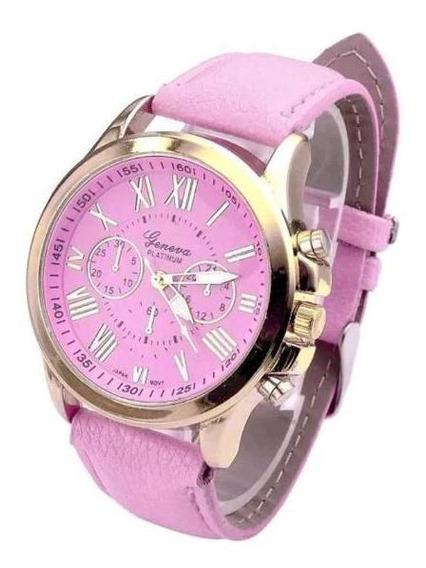 Relógio Feminino Dourado Geneva Algarismos Romanos Rosa