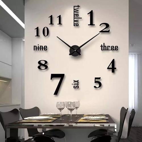 Reloj De Pared  3d Color Negro