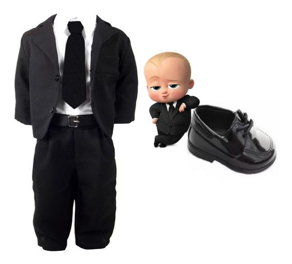 Terno Infantil Bebê Roupa Poderoso Chefinho + Sapatinho