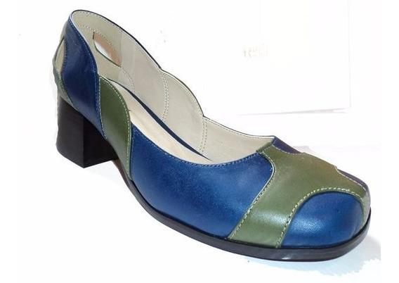 Sapato Retrô Azul E Verde