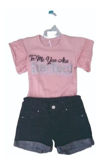 Conjunto Niña- Short Jean Y Blusa Algodon