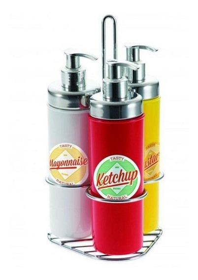 Kit Condimentos Maionese Mostarda Ketchup 300ml 4pcs Forma