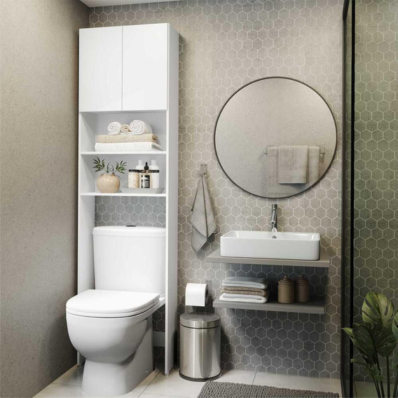 Armário De Banheiro P/ Vaso Sanit. C/ 2 Portas Multimóveis