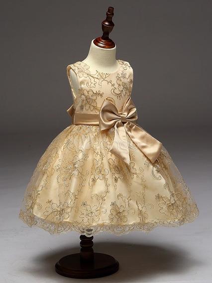 Vestido Infantil Princesa Dama De Honra Dourado