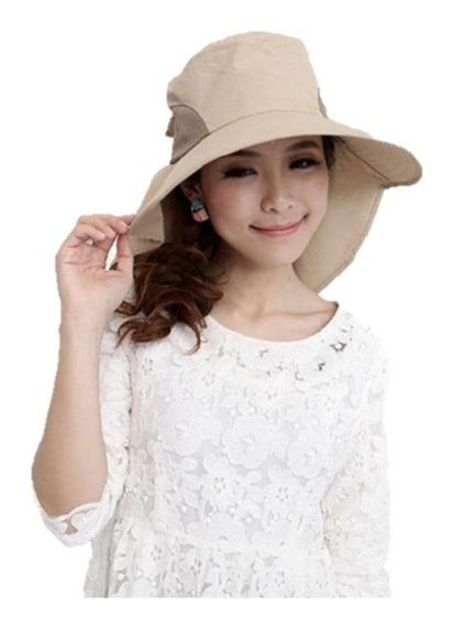 Sombrero Visera Ancha Protector Solar Rostro Cuello Doblable
