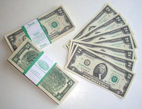 Uma Cédula Ou Nota Dois Dólares Americanos Fe Nova Ano 2009