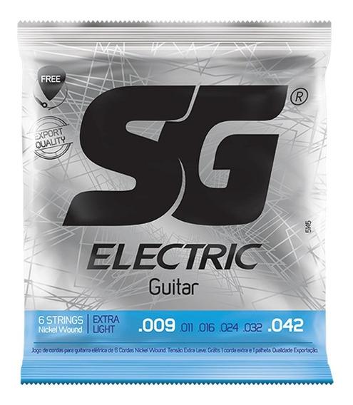 Encordoamento P/ Guitarra 09 Sg + 1ª Mi Extra E Palheta