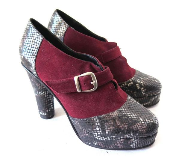 Zapatos Botinetas Mishka Gamuza Y Cuero Print Y Borravino 39