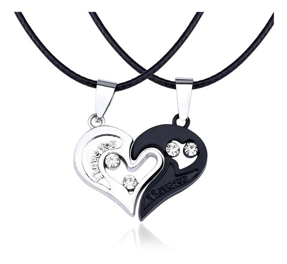 Collar Corazon Yin Yang Acero Inoxidable I Love You + Envio