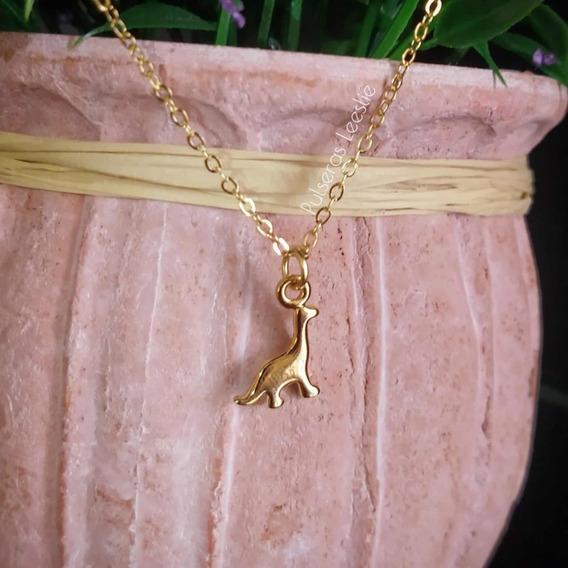 Collar Dinosaurio Chapa De Oro De 22k