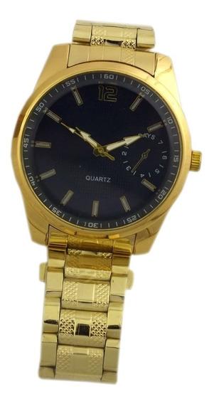 Relógio Grande Masculino Todo Em Aço Dourado Oferta B5673