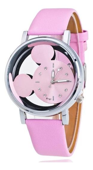 Relógio Feminino Mickey Brinde Caixa De Acrílico+2 Pulseiras